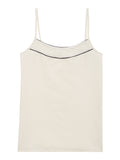 Women's Ivory Camisole with Navy Piping