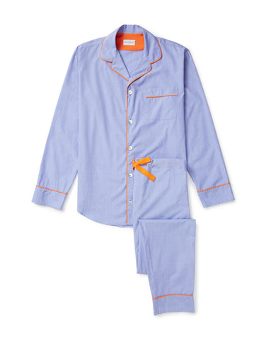 Men's pale blue with orange trim pyjama set