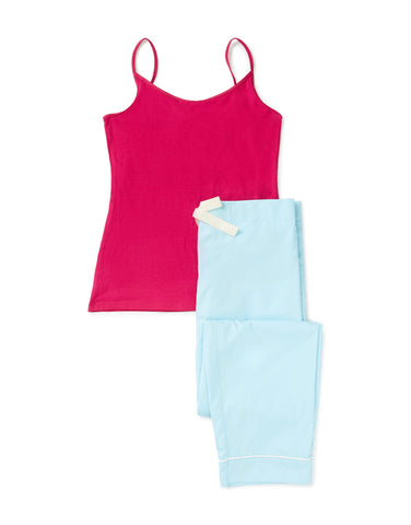 Cerise vest and aqua trouser set