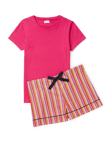 Cerise stripe shorts with pink T set