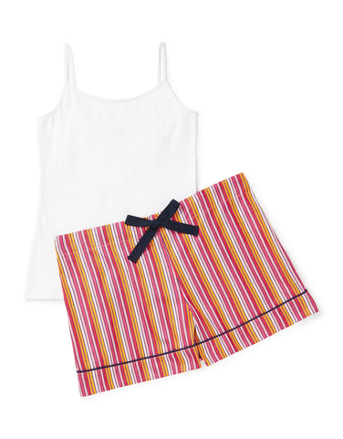 Cerise stripe shorts with white vest set