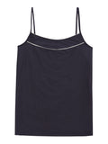 Women's Navy Camisole with Ivory Piping