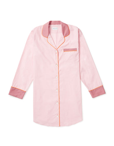 Pale pink with tangerine and rose piping nightshirt