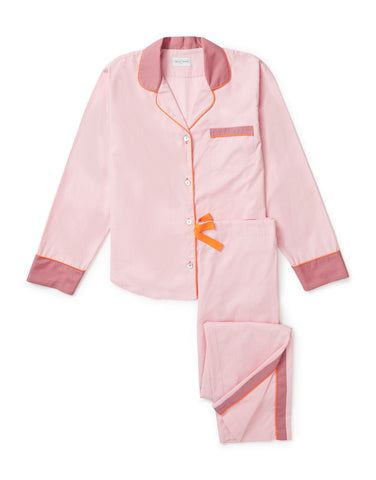 Pale pink with tangerine piping long pyjama set