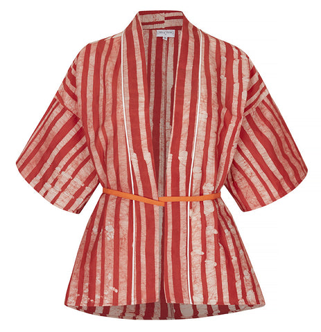 Red and white batik kimono