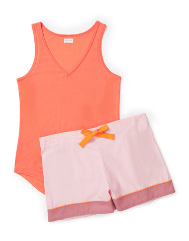 Tangerine vest with pale pink and rose shorts set