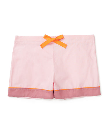 Pale pink shorts with tangerine and rose detailing
