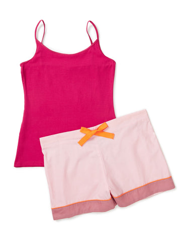 Cerise vest with pale pink, tangerine and rose shorts