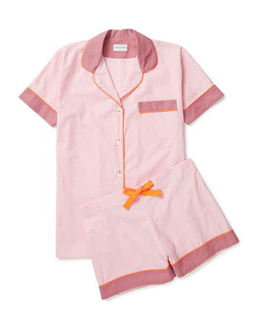 Pale pink with tangerine piping short set