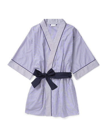 Thin blue stripe with navy piping short robe
