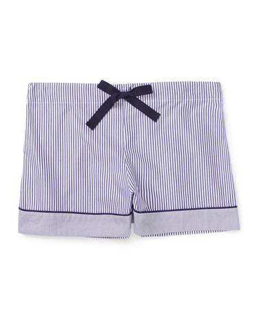 Nautical stripe shorts with navy piping