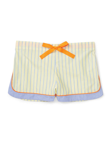 Yellow shorts with blue and orange detailing