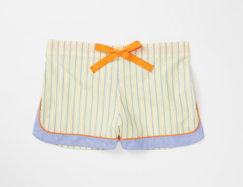 Yellow, blue and orange shorts