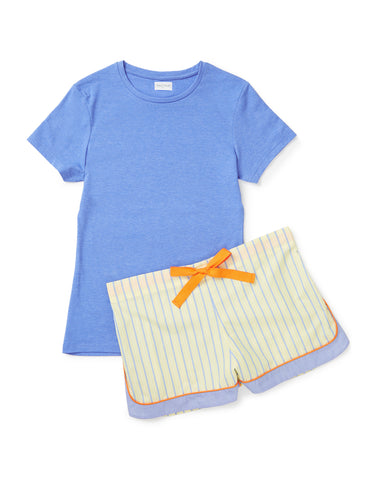 Denim blue T with yellow shorts set