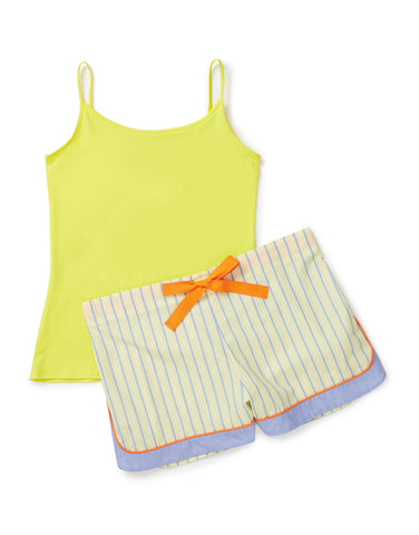 Yellow, blue and tangerine shorts with yellow vest