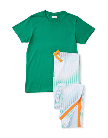 Green T-shirt with blue, orange and green trouser set