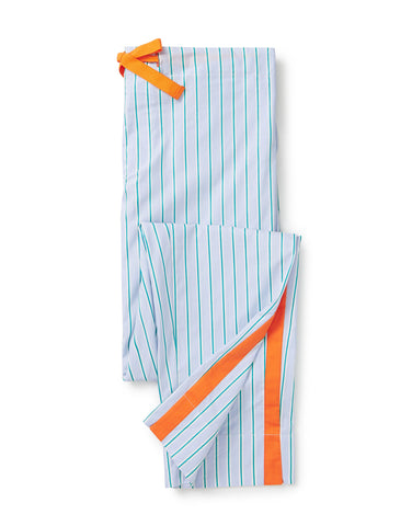 Light blue, with green and orange stripe trousers
