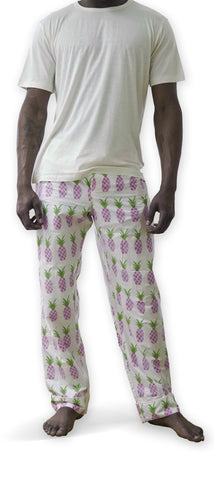 Men's Ivory T & Pineapple Trousers Set
