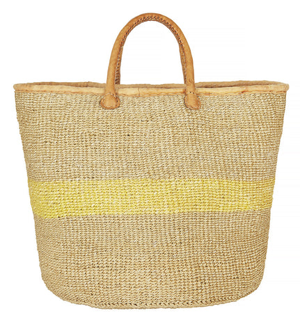 Yellow and natural Kenyan sisal basket