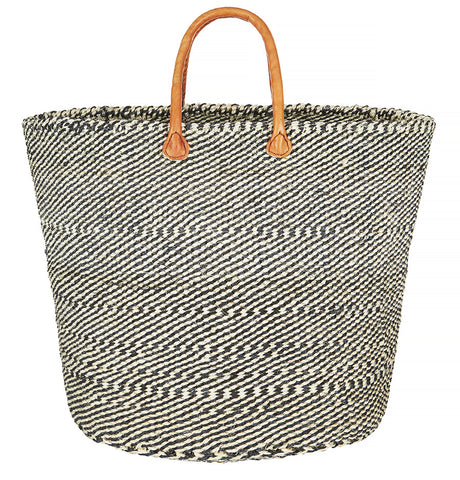 Black and white sisal basket