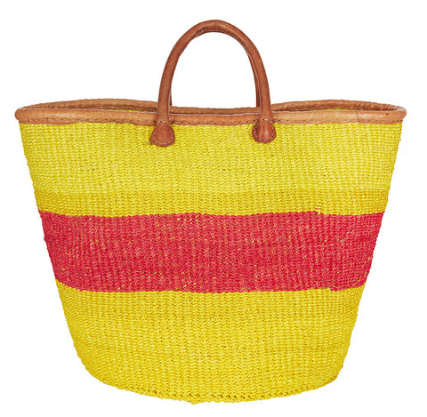 Yellow and pink sisal basket