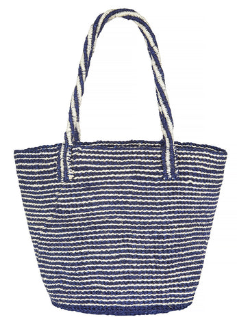 Handwoven navy and white small basket