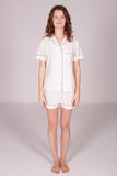 Women's Ivory Pyjama Shorts Set