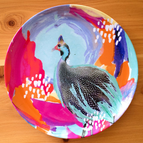 Optimistic Guinea Fowl - plate set