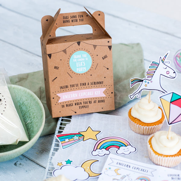 Unicorn cupcake kit party bag