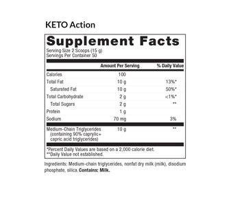 KETO Action MCT Powder Supplements Reset360