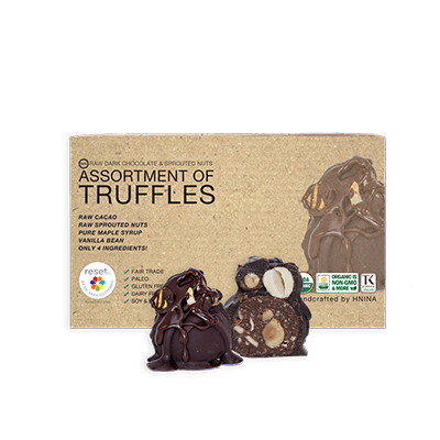 Box Of 8 85% Dark Raw Organic Chocolate Assortment Truffles