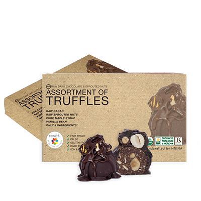 Organic 85 Dark Raw Organic Chocolate Assortment Truffles - Bundle 2 Shakes Reset360 Box Of 8 - Organic Dark Chocolate Truffles - 2