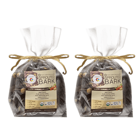 Raw Sprouted Organic Dark Chocolate Bark - Bundle 2 Shakes Reset360 1lb Cello Bag Of Organic Dark Chocolate Bark - 2
