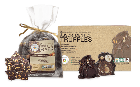 Raw Sprouted Organic Dark Chocolate Bark - Bundle 2 Shakes Reset360 Dark Chocolate Bark and One Box Of Truffles Combo