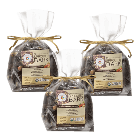 Raw Sprouted Organic Dark Chocolate Bark - Bundle 3 Shakes Reset360 1lb Cello Bag Of Organic Dark Chocolate Bark - 3