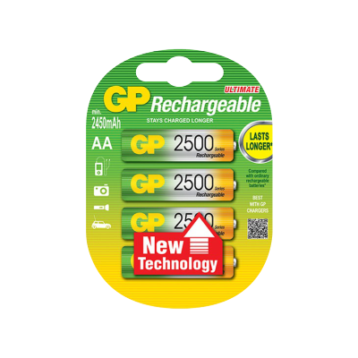 GP Batteries Rechargeable Ultimate AA 2500 4 pack - GP Batteries - KAMERAZ (11465859463)