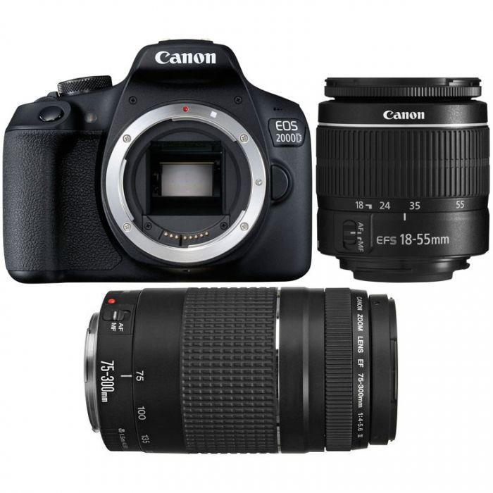 Canon EOS 2000D DSLR with EF-S 18-55mm IS II & EF 75-300mm f/4-5.6 III (788304855139)