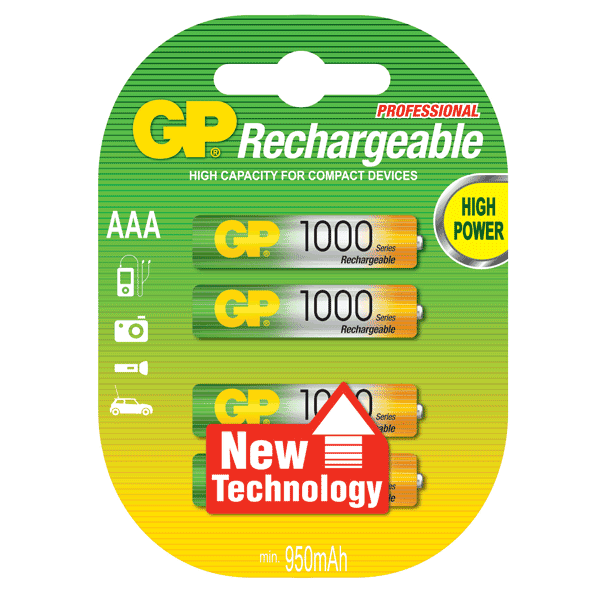 GP NiMh Rechargeable AAA 1000mah (4 Pack) (754514722915)