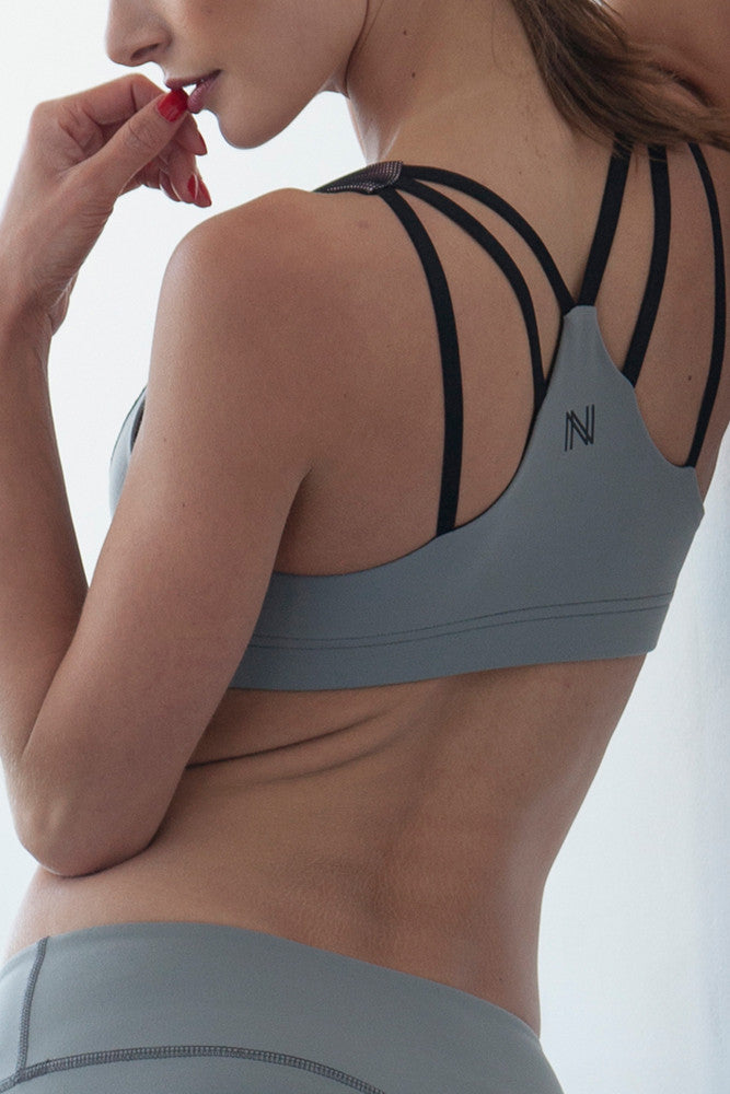 Strappy V Sports Bra - Light Grey