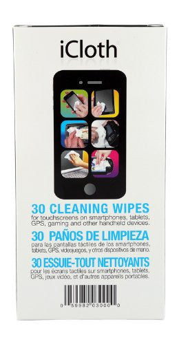 iCloth Screen Cleaning Wipes for a simple and fast shine - [iC30] 30 wipe pack