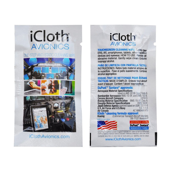100 iCloth Avionics Touchscreen and Computer Cleaning Wipes iCA100