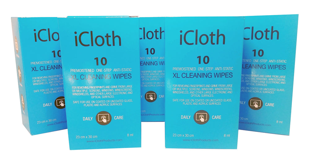iCloth XL Screen Cleaning Wipes - for computer monitors, large touchscreens, TV ( LED or LCD ) glass panels, windshield, windows, aviation, marine & automotive displays | iCXL10x5 | 5 Boxes of 10