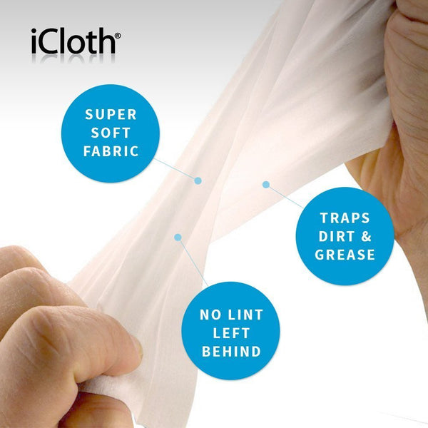 iCloth Screen Cleaning Wipes for a like-new shine on smartphones, tablets and computers - 3 Pack - 30 Count/Pack - 90 Wipes / White