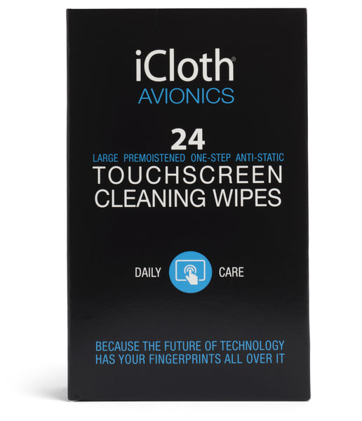 iCloth Avionics Screen Cleaning Wipes for a like-new shine on larger or multiple displays [iCA24] 24 wipe pack