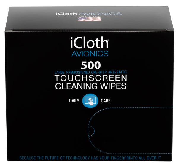 500 iCloth Avionics Touchscreen Wipes (iCA500) Clean EFB & iPad Touchscreens, GPS & HUD Displays, Laptops & Monitors - 500 Large Wipes