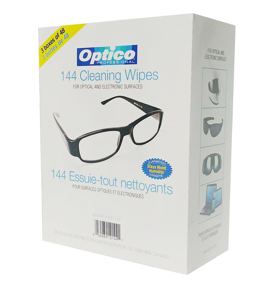 Optico Professional Optical Cleaning wipes ( each wipe 9cm x 13cm - 1 ml fill ) For Sunglasses, Reading Glasses, Eye Glasses, Lens, Glass Surface, Screen Protector, and other Glass Surface (144 Count - 3 Box of 48 Pack)
