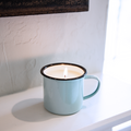 12 oz Cotton Wick Blue Enamelware Candle -                                                                            Choose your Favorite Scent