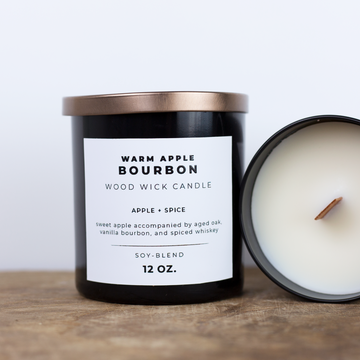 12 oz Wood Wick Candle - Warm Apple Bourbon