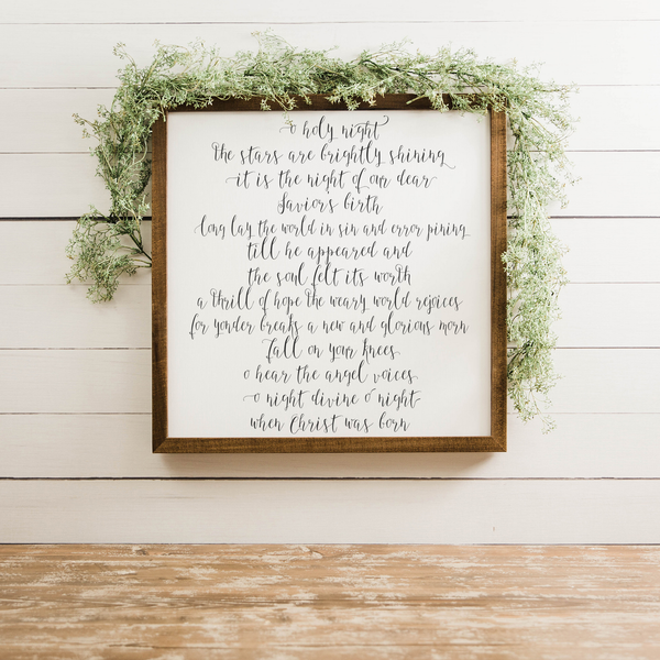 Wood Framed Signboard - O Holy Night - Multiple Sizes