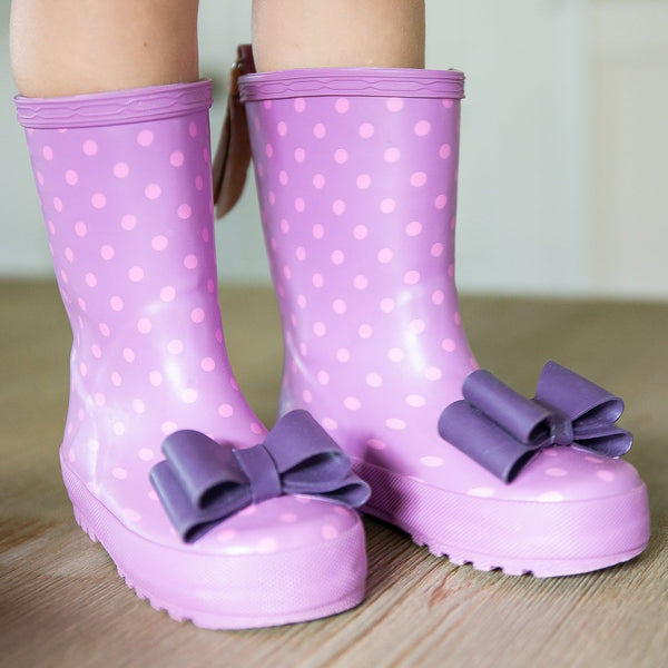SweetHoney - Cheery Rain Boots - Fuchsia Dotty
